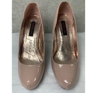 Material Girl Nude Patent Leather Platform Heels